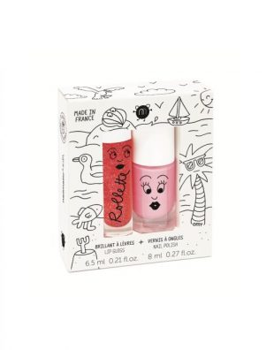 Nailmatic Kids Lip gloss (Strawberry) + nagellak op waterbasis (Cookie) - Holidays
