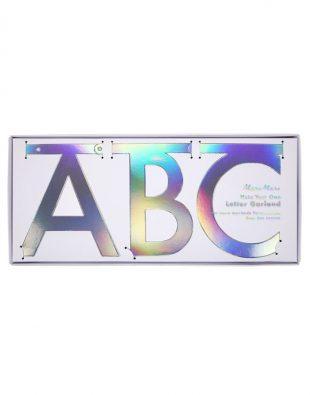 meri meri letter banner zilver