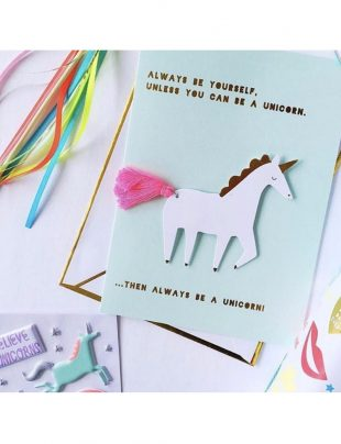 meri meri unicorn tassel card green