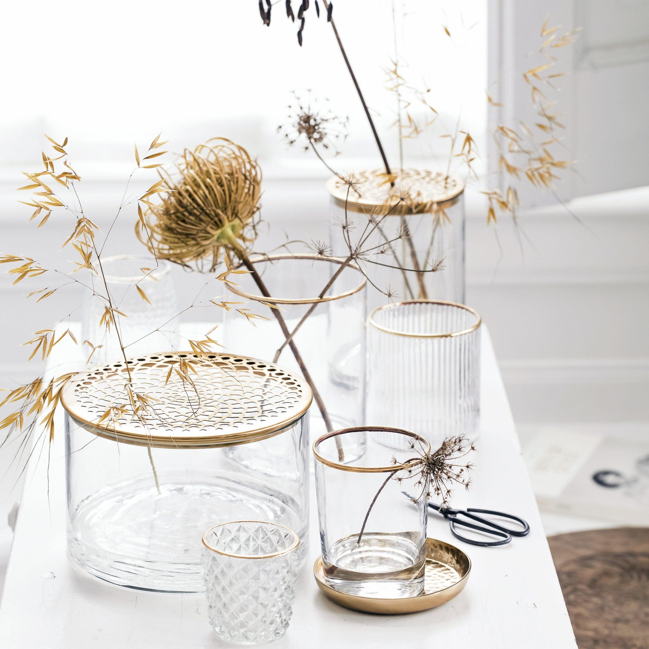 Vase with Metal Lid Gold 20x20x13cm2